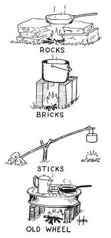 """Camp cooking _ A couple of bricks 18"""" apart with the rack from an old oven or barbeque set on top & you have a grill. You can use wood underneath or even briquets.  I have even seen this kind of setup using sterno fuel. So maybe you even have a woodstove in your house and can cook on that, I have used my own woodstove for that purpose. That kills two birds with one stone, heat & cooking.  You can even move it outside if you need to use it for cooking during the hot months."""