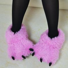 Pink Fuzzy Bear Paw Animal Slippers