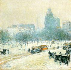 """Frederick Childe Hassam: """"Winter in Union Square"""", 1892"""