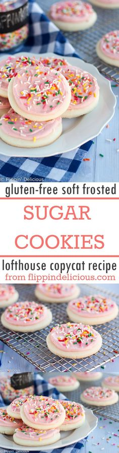 These Lofthouse copycat gluten free soft frosted sugar cookies are soft and cakey. They are  the perfect gluten free soft frosted sugar cookie cutout recipe!
