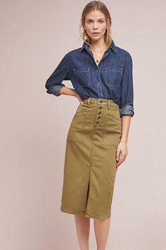Anthropologie khaki skirt