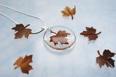 Autumn Necklace Petite Resin Jewelry Pressed Leaf Mini Maple Petite Transparent Airy Botanical Necklace / Pendant