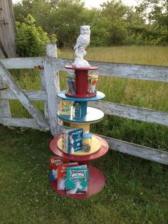 Old Cable Spools turned Bookshelves or stands / The stacking idea left with the rustic look wood also be cute at a country wedding with lights wrapped around the bottom one and use others as a cupcake stand and/or to display pictures of the bride and groom -Cori
