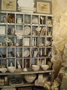 Vintage artful cubby... by guida ... Love these but always think they will be a pain to dust.