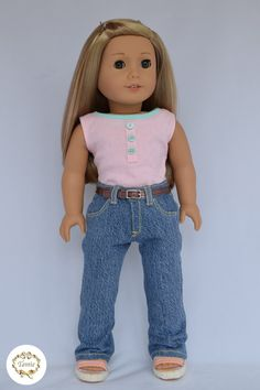 "American girl doll clothes "" Zippered Boyfriend's Jeans with a belt & Tank "" ( 2 pieces )"