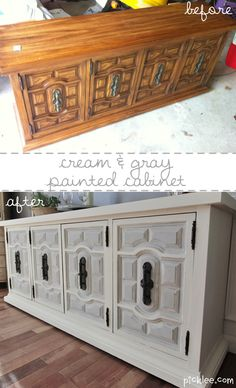 Before and after furniture re-do's..............white and gray painted cabinet before and after
