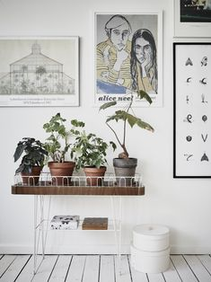 Plant stand and gallery wall in a Scandinavian styled Gothenburg apartment. I so want one of those plant stands!
