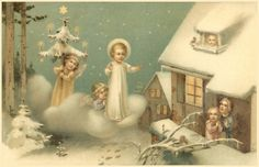 Angels bring CHRISTMAS tree and holy child to awestruck family Ghost Of Christmas Past, Old Christmas, Old Fashioned Christmas, Victorian Christmas, Christmas Angels, Vintage Christmas, Family Christmas, Christmas Crafts, Xmas