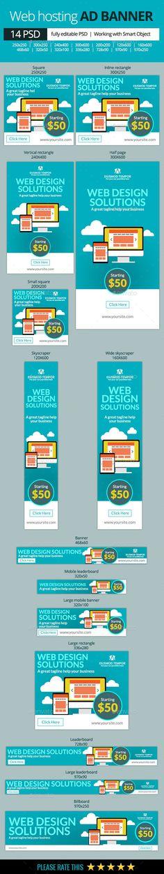Web Hosting Banners Template PSD   #webbanners #hostingbanner   Download: http://graphicriver.net/item/web-hosting-banners/10419888?ref=ksioks