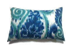 Decorative Pillow Cover Ikat Paisley Design Navy Blue Teal White Lumbar Same Fabric Front/Back Toss Throw Accent 12 x 18 inch by LynnesThisandThat on Etsy https://www.etsy.com/listing/210413694/decorative-pillow-cover-ikat-paisley