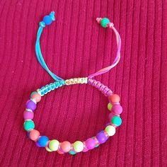 Neon beads bracelet Cute adjustable bead bracelet, handmade, with neon colors of yellow, orange, red, blue, green, magenta and purple. Jewelry Bracelets