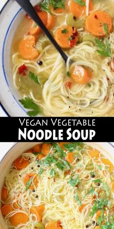 Homemade vegan vegetable noodle soup from scratch featuring classic angel hair style long noodles, carrot, celery and tons of fresh Italian parsley. Best Picture For Vegan Recipes italian For Your Tas Tasty Vegetarian Recipes, Vegan Soups, Vegan Dinner Recipes, Vegan Dinners, Vegan Recipes Easy, Soup Recipes, Cooking Recipes, Vegetarian Sweets, Fast Recipes