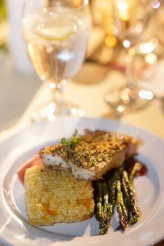 Rancho Las Lomas | Food & Drink Dinner entree asparagus rice elegant fish