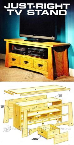 Just-Right TV Stand Plans - Furniture Plans and Projects - Woodwork, Woodworking, Woodworking Plans, Woodworking Projects Woodworking Furniture Plans, Woodworking Projects That Sell, Woodworking Logo, Easy Wood Projects, Furniture Projects, Wood Furniture, Tv Stand Plans, Coffee Table Plans, Wood Plans