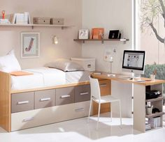 31 Cool Bedroom Ideas to Light Up Your World Minimalist House Design, Minimalist Room, Bed With Drawers Underneath, Home Bedroom, Bedroom Decor, Bedroom Workspace, Awesome Bedrooms, Girl Room, Interior Design Living Room