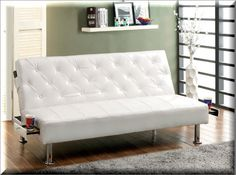 Convertible Futon Sofa Bed Sleeper White Leatherette Living Room Furniture   | eBay