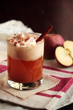 Caramel Apple Cider...cider, caramel ice cream topping, cinnamon sticks, whipped cream..