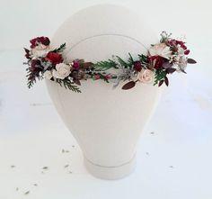 Beige burgundy flower crown greenery Bridal floral crown | Etsy Baby Flower Crown, Floral Crown, Floral Wedding, Rustic Wedding, Wedding Flowers, Rustic Flowers, Dried Flowers, Flower Headpiece Wedding, Burgundy Flowers