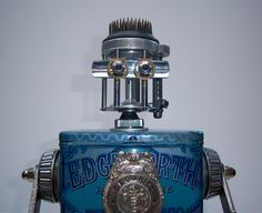 Edgeworth - found object robot assemblage sculpture by Rod Abernethy