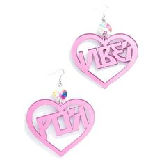 Trixy Starr Posi Vibes Earrings ($30) ❤ liked on Polyvore featuring jewelry, earrings, accessories, hook jewelry, iridescent earrings, letter jewelry, mirrored jewelry and iridescent jewelry