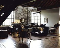 Loft Love - use brick and antique style furniture to create an interesting space