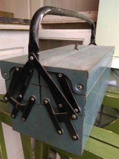 Oude Vintage Gereedschapskist Zwart Handvat
