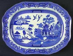 Josiah Spode's Design  Characteristics of Willow Pattern China  There are many copies of Willow Pattern available today.    The defining characteristics of an authentic Willow Pattern design are the distinct elements of the Chinese scene depicted on the china.    Look for three people crossing a bridge, a willow tree, a boat and a teahouse. You will also notice the garden with two birds and a fence.