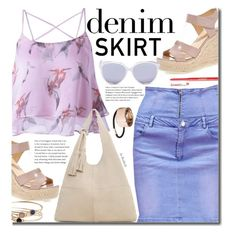 """""""Summer Style: Denim Skirt"""" by beebeely-look ❤ liked on Polyvore featuring MANGO, H&M, Christian Dior, tarte, denim, summerstyle, sammydress, denimskirt and summersandals"""