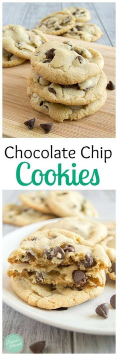 Chocolate Chip Cookies - These chocolate chip cookies are perfectly crunchy on the outside and chewy on the inside. No mixer needed for this easy recipe!