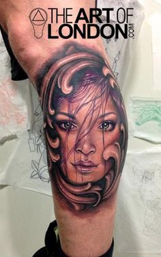 Tattoos - London Reese - Girl and Filigree Color Portrait Tattoo