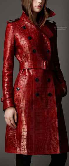 Burberry Long Alligator Leather Trench Coat in Red (lacquer red) - Lyst 581155223ba