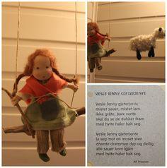 Vesle Jenny gjeterjente Crochet Hats, Teddy Bear, Toys, How To Make, Animals, Leprechaun, Knitting Hats, Activity Toys, Animales