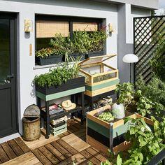 """En un weekend, vous pouvez transformer simplement votre balcon en véritable potager. Prévoyez un espace """"plantations"""" et un espace """"détente"""". Installez vos plantations en """"U"""" pour qu'elles soient toutes faciles d'accès. Vous pouvez également les disposer en hauteur, afin d'éviter de vous baisser pour jardiner. Pour un look """"atelier végétal"""", privilégiez le bois et le DIY. Vous pouvez également peindre certains détails pour créer un style graphique.  House Color Schemes, House Colors, Vegetable Shop, Dream Garden, Home And Garden, Living Fence, Apartment Balconies, Outdoor Furniture Sets, Outdoor Decor"""