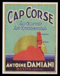 CORSE: Étiquette ancienne CAP #CORSE, apéritif quinquina, Antoine DAMIANI, Bastia #iledebeaute