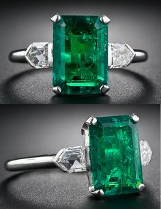2.77 Carat Emerald and Bullet-Cut Diamond Art Deco Ring. gorgeous, richly saturated, bright and lively green old mine Colombian emerald, weighing 2.77 carats (but presenting about one carat larger due...