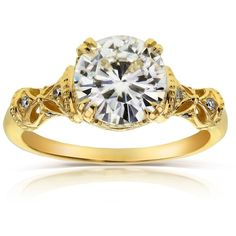 Annello by Kobelli 14k Yellow Gold 1 1/2ct TGW Round-cut Moissanite... ($1,016) ❤ liked on Polyvore featuring jewelry, rings, yellow, 14k diamond ring, vintage diamond rings, yellow gold diamond rings, yellow gold rings and antique engagement rings