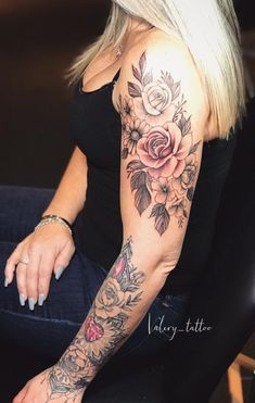 Dope Tattoos For Women, Beautiful Tattoos For Women, Tattoos For Women Half Sleeve, Shoulder Tattoos For Women, Badass Tattoos, Body Art Tattoos, Beautiful Women, Girly Arm Tattoo, Sarah Tattoo
