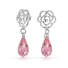 Bling Jewelry Rose Flower Earrings Pink Topaz Color Briolette Glass Silver Tone