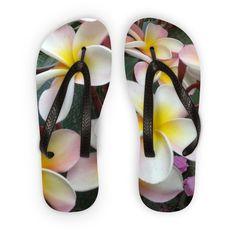 Tropical flower theme flip flops. Unique, our original picture. Great gift idea.
