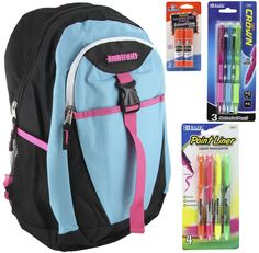 Turquoise Backpack School Bags for Teens + Free School Supplies for Kids