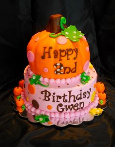 Sweet Little Pumpkin Cake - Carved pumpkin cake with fondant accents