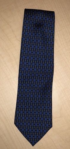 Brooks Brothers Necktie Tie Silk Chain Link Print Made USA Blue Gold #BrooksBrothers #Tie #necktie #clothes #fashion #cool #gif