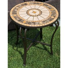 Compass 20 Round Marble Mosaic Side Table, Beige, Patio Furniture (Tile)