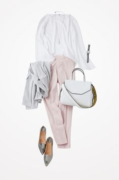 pink white silver - why not baby blue with silver Pink Fashion, Hijab Fashion, Fashion Outfits, Womens Fashion, Casual Hijab Outfit, Elegant Outfit, Smart Casual Work, Office Fashion, Office Outfits
