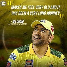 #MSDhoni reflected on his journey with #CSK after he became the first cricketer to play 200 T20 matches for an IPL franchise. #IPL2021 Dhoni Quotes, Cricket Quotes, Famous Quotes, Journey, Play, Feelings, Famous Qoutes, The Journey