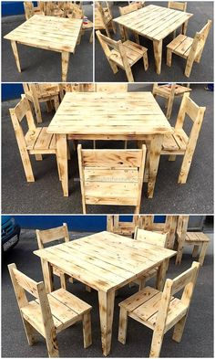 Simple Furniture Set Made with Pallets Wood -You can find Pallets and more on our website.Simple Furniture Set Made with Pallets Wood - Wooden Pallet Projects, Wooden Pallet Furniture, Pallet Crafts, Wooden Pallets, Rustic Furniture, Diy Furniture, Pallet Ideas, Furniture Repair, Furniture Stores