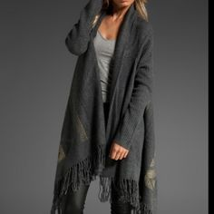"""Gorgeous sweater wrap Twelfth Street by Cynthia Vincent. Features fringe detail at the bottom. I'm 5'8"""" and love how this sweater fits! Both cute and comfy, but it's time to pass it along. Best for size 2-6 Cynthia Vincent Sweaters Shrugs & Ponchos"""