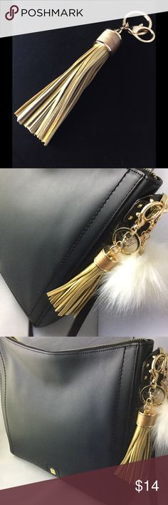 "Gold Tassel Purse Charm/Key Chain The fringe part of this beautiful tassel is 4"" long. Made of faux leather with gold tone clasps. This would look great on your purse or used as a key chain. Brand new, without tags. See my other listings if you'd like to pair it with a fur pom. I ship quick! Accessories Key & Card Holders"