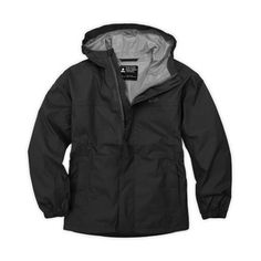 EMS Kids' Thunderhead Jacket Black S. Lightweight, unlined nylon ripstop shell fabric. System Three technology provides waterproof, windproof protection and breathable comfort-kids stay dry and comfortable. DWR (durable water repellent) finish sheds water from fabric surface. Fully taped seams to keep water and wind out. Flap ventilation system under arms: Protected openings allow heat to escape. Attached hood with Velcro adjustment tab at back of hood. Center-front zipper with zipper...