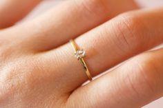 Solid 14k or 18k Gold Herkimer Diamond Ring. by CharmStoneEstonia
